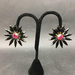 Vintage Judy Lee Black Pink Flower Earrings Clip